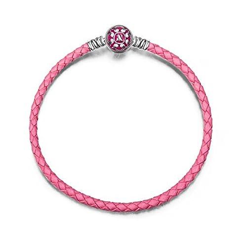 NinaQueen Charms Bracelet pour femme argent PU & 925 Pink compatible avec pandora charms bijoux Cadeau Saint Valentin Fete des Meres Anniversaire Cadeaux Noel Maman Mere Fille 19cm