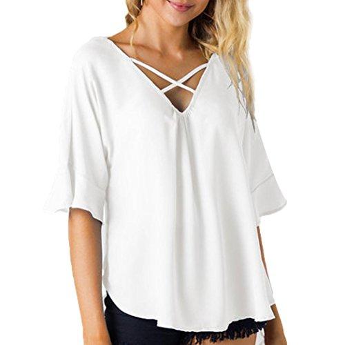 OSYARD Damen Lässige Kurzarm Bandage Tops Backless Bluse T-Shirt(EU 46/XL, Weiß)