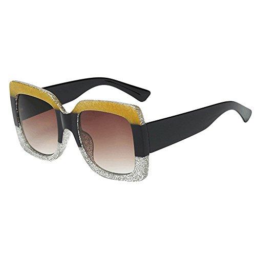 Skang Damen Klassische Polarisierte Sonnenbrille Platz Glänzend Verbundrahmen Mit UV Schutz Mode Fahrende Sunglasses(Einheitsgröße,G)