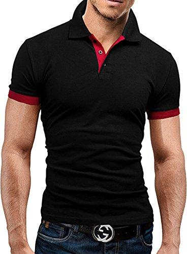 MERISH Herren Poloshirt Basic T-Shirt Modell 23 Schwarz/Rot