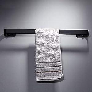 WUYING Sin Taladro Espacio De Aluminio Colgador De Toallas Negro Mate Estante De Toalla Toallero Baño Adhesivo No Se…