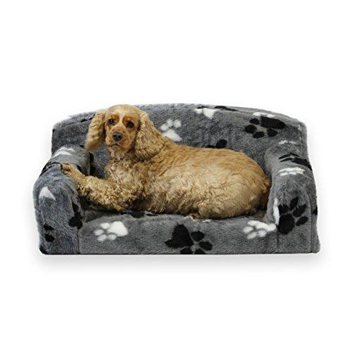 Sofá para mascotas con diseño de huellas de perroPrecioso artículo para perros.Cama para perros muy suave.Funda extraíble.Material interior de espuma de alta calidad.Fabricante del Reino Unido.