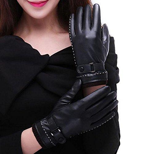 FEITONG Táctil 1 Mujer de Par Pantalla de invierno guantes calientes Negro (M, Negro)