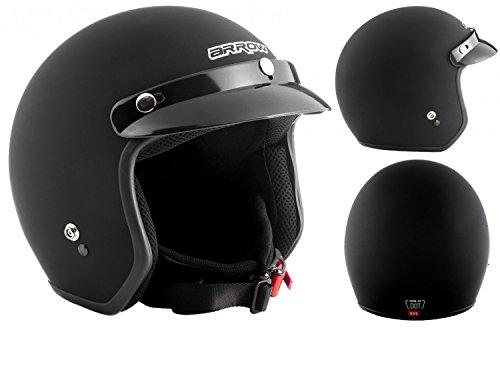 Armor · AV-47 'Black Matt' (black) · Casco Demi Jet · Urbano Moto Helmet Piloto Scooter Motocicletta · DOT certificato · Click-n-SecureTM Clip · Borsa per il trasporto · XXL (63-64cm)