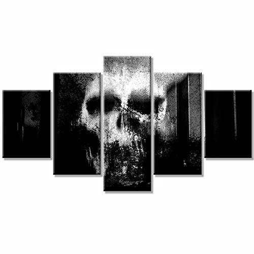 Halloween Tag der Toten Gesicht Schädel Frau Abstrakte Malerei Schwarz-Weiß-Kunstdrucke für Wohnzimmer Wandkunst Bild Geschenk Home Decoration 5 Stück Leinwanddruck gerahmt fertig zum Aufhängen (Weiß Schwarz Und Halloween-gesicht-malerei)
