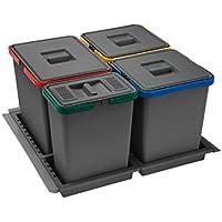 ELLETIPI Metropolis PTC28060502F C10PPV - Cubo de Basura de Reciclaje de cajón, Gris, 51x 46x 28cm