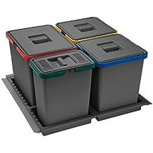 ELLETIPI Ecofil PF01/44B1/M/ülleimer M/ülltrennung ausziehbar f/ür Base Kunststoff und Metall 30/x 45/x 46/cm Grau