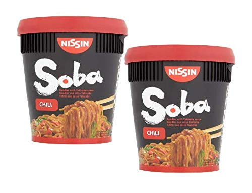 Nissin Soba Chili Instant Buckwheat Noodles with Chili Sauce - 2 x 92 Gram