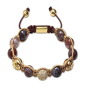 Nialaya cZ bracelet pour homme diamants/or/gris/blanc/marron clair/gris/rouge/or-oxyde de zirconium/agate/argent sterling 925 taille: l