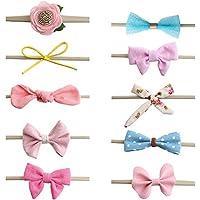 036213ab2a67ef DELEBAO Baby Stirnbänder Haarschleife Stirnband Baby Mädchen Neugeborenen  Haarband Headwrap für Kinder Weich Kopfband Baby Accessoires