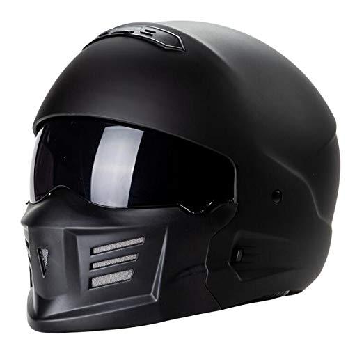 Tezevan Design Leggero Casco del Motociclo di Combinazione del Casco ZR-881 EXO-Combat Santo Volto Blindata Samurai,Nero,M
