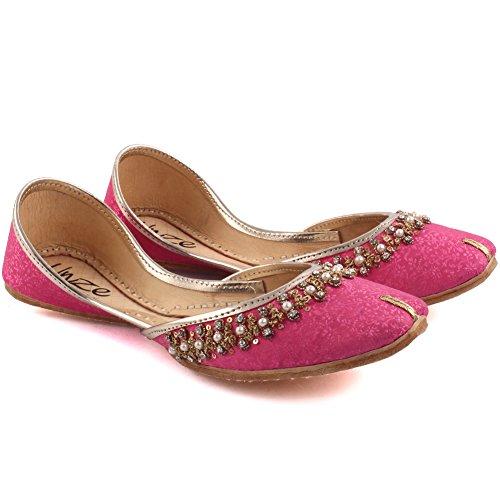 Unze Damen Damen Traditionelle CHERA Handgefertigte Perlen Indische Casual Leder Flache Khussa Pantoffeln Schuhe UK Größe 3-8 - LS-617 Fuchsie