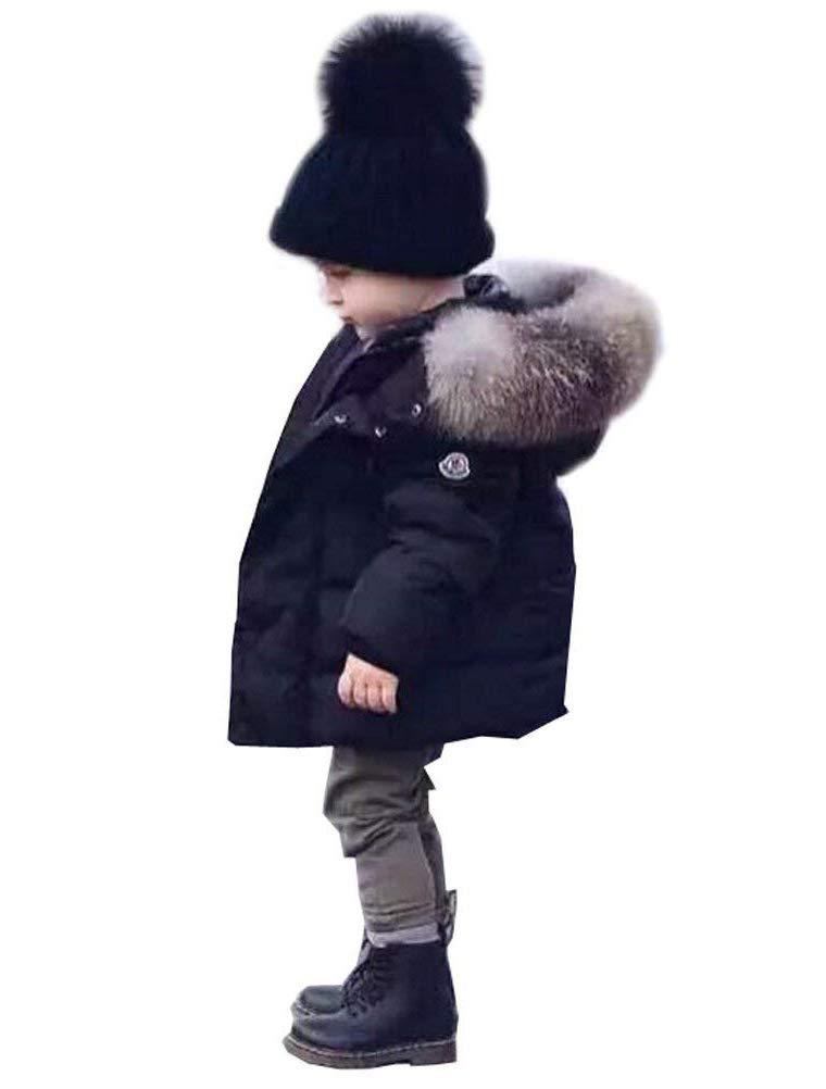 Odziezet Abrigo de Plumas Niñas Niños Invierno Chaqueta Caliente Otoño Invierno Cortaviento con Capucha Negro Rojo… 1