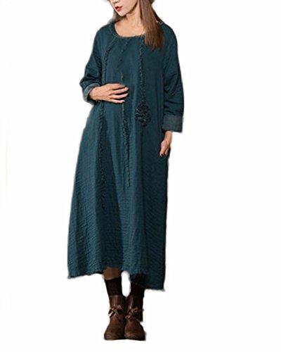 ZANZEA Femmes Casual Vintage Fleur Bordrie Automne Dress Col Rond en Vrac Longue Maxi Coton Robe Lac bleu