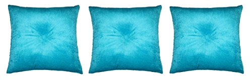 Lushomes Turquoise Direct Filled with Button Set of 3 Velvet Cushions (12
