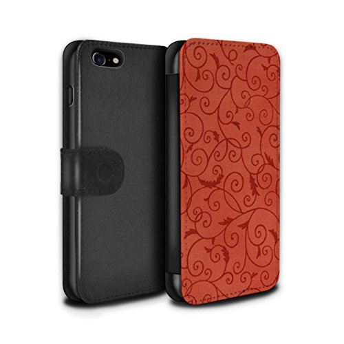 Stuff4 Coque/Etui/Housse Cuir PU Case/Cover pour Apple iPhone 7 / Pack (8 pcs) Design / Motif de la vigne Collection Rouge