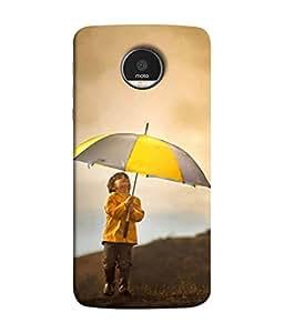 PrintVisa Designer Back Case Cover for Motorola Moto Z Force :: Motorola Moto Z Force Droid for USA (Kid hill standing umbrella sunrise)