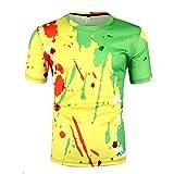 MOTOCO Herren T-Shirt Tops Kurzarm Hemden O-Neck Persönlichkeit PigHerrents Farbdruck Kurzarm Tops Casual Slim Sportswear Kurzarm T-Shirt(L,Gelb)