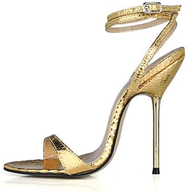 ligaosheng Mujer-Tacón Stiletto-Tira en el Tobillo-Sandalias-Vestido Fiesta y Noche-PU-Negro Oro Plata, Silver... -