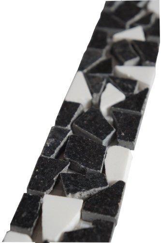 Granit Mosaik Bordüre Star Galaxy Schwarz Weiss 5x30 cm 8 mm Bruchstein B470 -