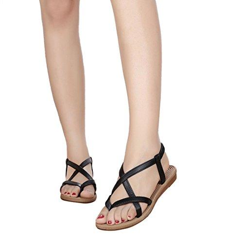 Vertvie damen Sommer Flache Schuhe Offene Sandalen Bandage Bohemia Freizeit Sandalen Strandschuhe Zehentrenner Schuhe Strand Flip Flop Hausschuhe Schwarz