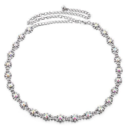 112cm Verstellbar Fashion Waist Gürtel für Damen - Silber AB Diamant Strassstein Design 743 - Stylisch Verschluss Buckle für Damen - Schickes Accessoire für Modisch lässig und formale Kleidung