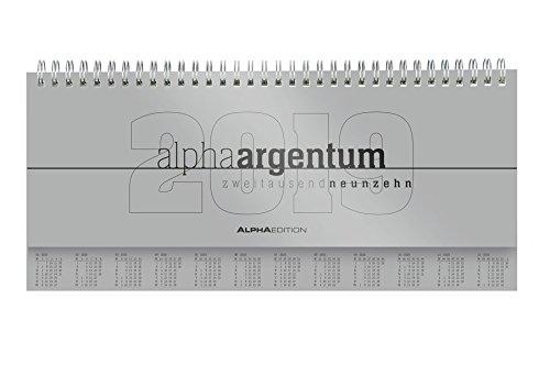 Tisch-Querkalender 1 W. auf 2 S. alpha argentum mit verl. Rückw. 2019