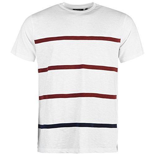 Pierre Cardin Herren 100% Baumwolle Rundhalsausschnitt Kurze Ärmel Entspannt Fit Streifen Applique T-Shirt - Bunt - Mittel - XX-Large Verfügbare Größen (Medium, White/Burgundy) Unterschrift Maschine