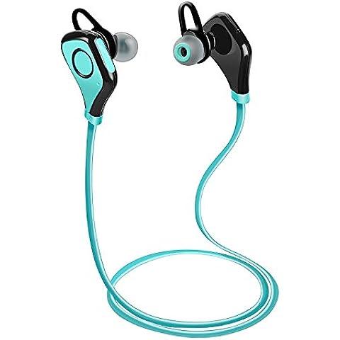 Tenswall Wireless Bluetooth Headset Stereo Cuffie Sport con Microfono e Headphone per iPhone 6s 6 Plus 5s SE, Samsung Galaxy S7 S6 S5 S4, IOS ed Altri Smartphone - Blu