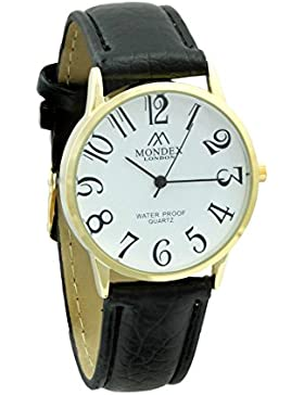 Unisex Vergoldet Mondex / Azaza Pu-Leder-Armband-Uhr Schwarzes Band Mit Weißem Ziffernblatt