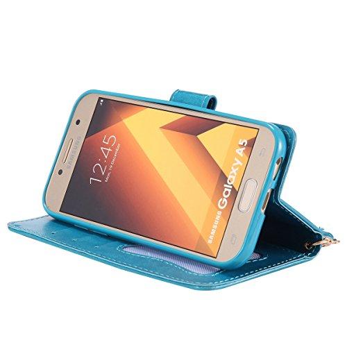 Custodia Galaxy A5 2017 - Cover per Samsung Galaxy A5 2017 - ISAKEN Fashion Agganciabile Luminosa Custodia con LED Lampeggiante PU Pelle Portafoglio Tinta Unita Cover Caso per Samsung A5 2017, Luxury  Blu