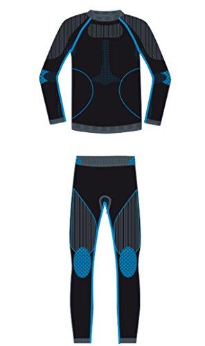icefeld®: Sport-/ Ski-Thermo-Unterwäsche-Set für Kinder seamless (nahtfrei) in schwarz/blau, 146/152 (Ski-thermo-unterwäsche)