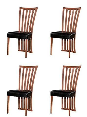 Chaise de salle à manger 2/4/6Bois massif Noyer Chêne Assise Tissu Cuir–fabriqué en Malaisie, Bois dense, Calais, 4