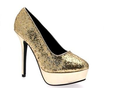WOMENS METALLIC GLITTER PLATFORM FULL TOE SEXY STILETTO HIGH HEELS LADIES COURT PARTY SHOES GOLD SIZE 6