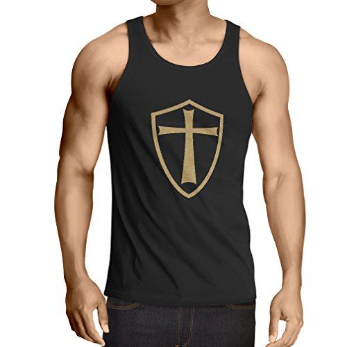 lepni.me Camisetas de Tirantes para Hombre Caballeros Templarios - Escudo de los Templarios (Medium Negro Oro)