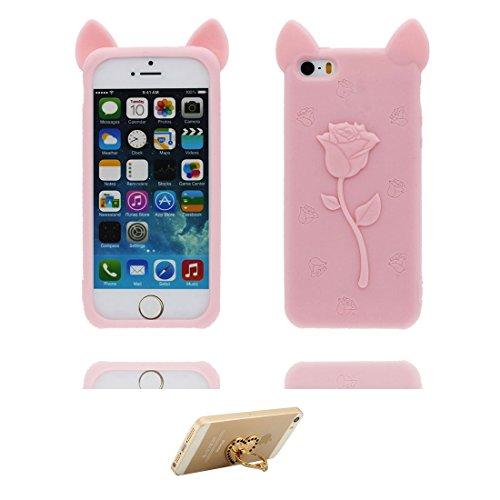 Coque iPhone 5, iPhone 5S Case [ TPU 3D Cartoon Rose Oreilles de porc ] Skin Cover iPhone 5G SE 5s 5C Étui, Shell souple durable anti-chocs Rose & ring Support Pink