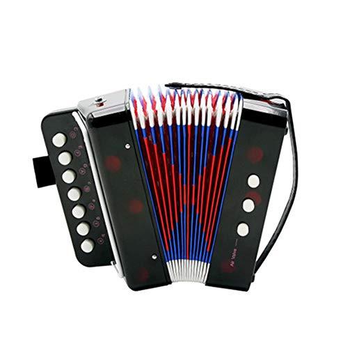 QING.MUSIC Keyboard instrument Kinderakkordeon 7-Key 2 Bass Spielzeug-Akkordeon Puzzle-Spiel Üben Sie das Akkordeon Kinder,Black