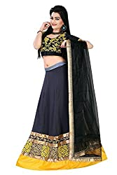 Clickedia Womens Faux Georgette Semi-Stitched Lehenga Choli (Black)