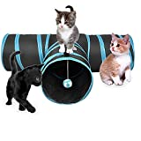 JIN CAN Cat Tunnel Toy, Upgraded Collapsible 4 Way Pet Play Tunnel Tube Storage Bag & Cat Toys Feather Wand, Dogs, Rabbits, Guinea Pig, Indoor/Outdoor Use (3 Way Tunnel)