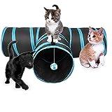JIN CAN Cat Tunnel Toy, aggiornato Pieghevole 4Way Pet Play Tunnel Tube Storage Bag & Giochi per Gatti Feather Wand, Cani, Conigli, porcellini d' India, Uso Interno/Esterno