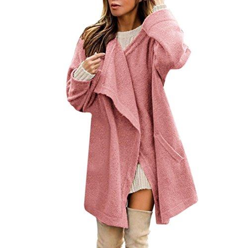 Bellelove Frauen Winter Warm Unregelmäßigen Offenen Mantel Jacke Parka Outwear Damen Strickjacke Mantel (S, Rosa) (Baumwoll-kleid Calvin Klein-Ärmelloses)