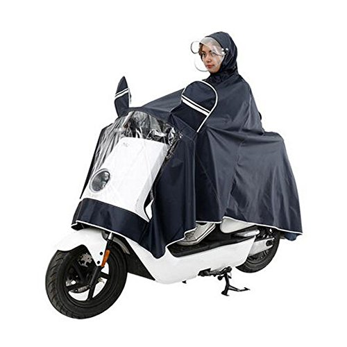 Haodasi Double Cover Cap Imperméable Motocyclette Scooter Rainwear Poncho Coat Navy