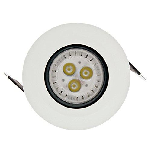 Faro da incasso a LED bianco, 5W, orientabile, ghiera bianca