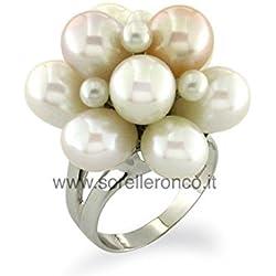 Anillo en Oro Blanco 18Kt con Perlas Bianco Rosato