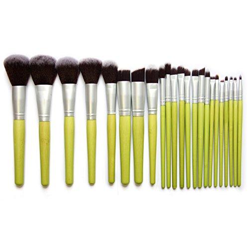 RY@ 23 Pcs Maquillage Brosse Kit Bois Professional Set Cosmétique Fondation Brosse Poudre Brosse Ombre à paupières Brosses (vert)