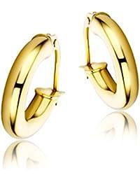 Miore Damen-Creolen 9 Karat / Klassische Ohrringe aus 375 Gelbgold mit purem Glanz / Ohrschmuck 14mm x 3mm, Gold