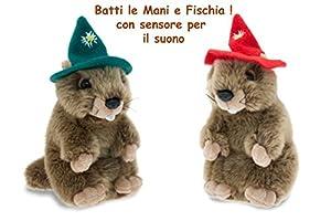 TEOREMA 805530 - Marmota de 18 cm con Sonido de 2 Colores Surtidos de Animales Bosco Peluches 609, Multicolor