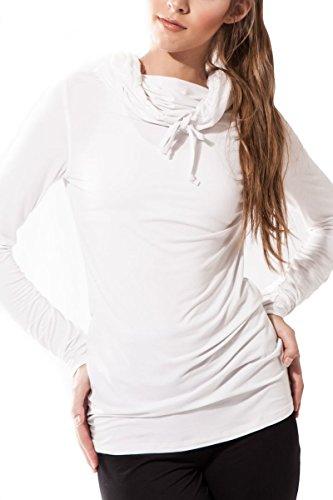 Sternitz Camisa Fitness para mujer, Bhakti Hoodie, ideal para hacer pilates, yoga y cualquier deporte, tela de bambú, ecológica y suave. Cuello largo. (M, Blanco)