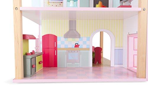 Puppenhaus Rosa Dach aus Holz, inkl. 21 farbenfrohen Möbelstücken, Spielspaß auf 3 Etagen, mit drehbarem Sockel, offene Seiten für einfaches Bespielen - 6