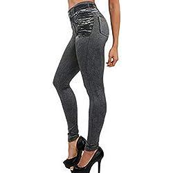 Holywin Pantalon Femme Leggings De Poche Aptitude Grande Taille Leggins Longueur Mode Jeans